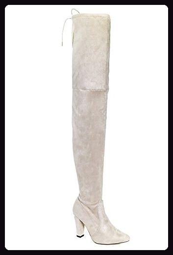 Nackt Damen Vanessa Block Heel Thigh High Boot 4 Stiefel Für