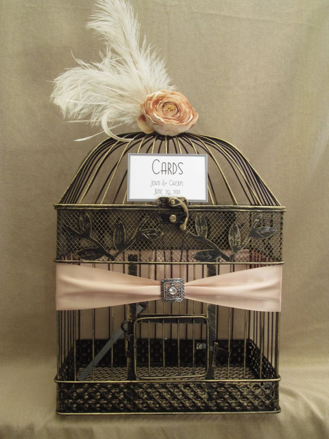 Art Deco Wedding Card Box Bird Cage Bling Ostrich Feathers