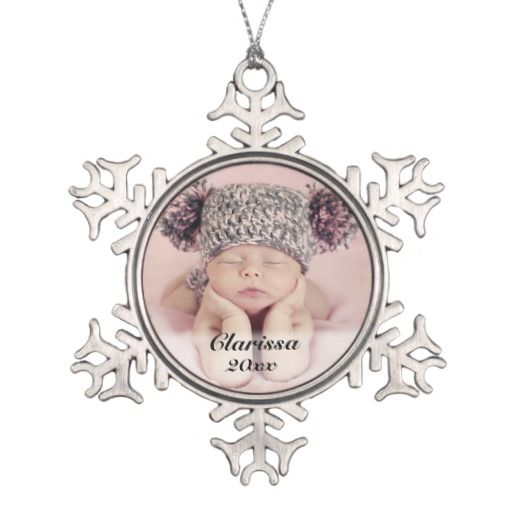 Personalized Add Your Baby Wedding Photo Ornament Add your beautiful baby or wedding photograph to this beautiful do it yourself custom snowflake Christmas ornament. What a great keepsake. This is great for any new baby, wedding, engagement, graduation, anniversary, or baby, or senior graduation year photo Works best with a square photo or graphic.