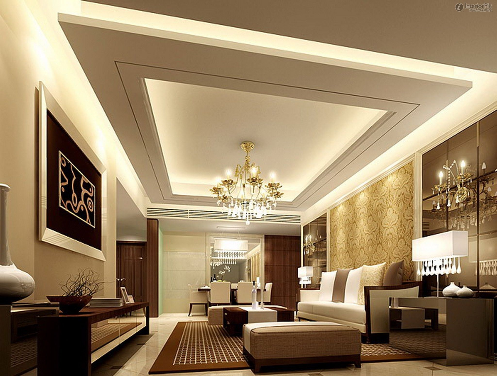 Fresco of Vaulted Living Room Ideas  Interiors  Gypsum ceiling design Simple false ceiling