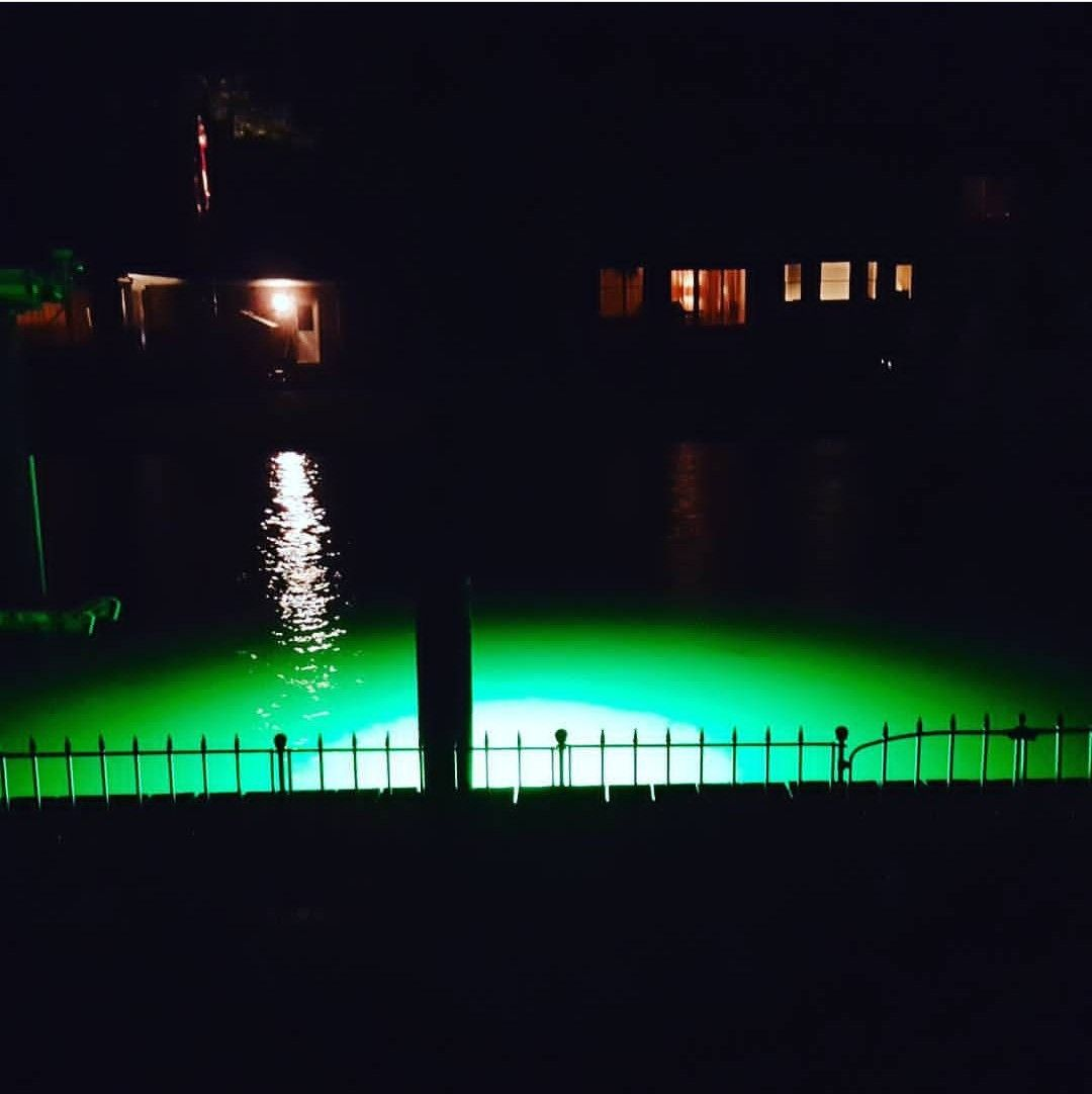 Check Out That Green Glow Illumisea S Mega Watt Green Is Lighting Up The Night All Of Our Underwater Dock Lights Are Dock Lighting Underwater Lights Lights