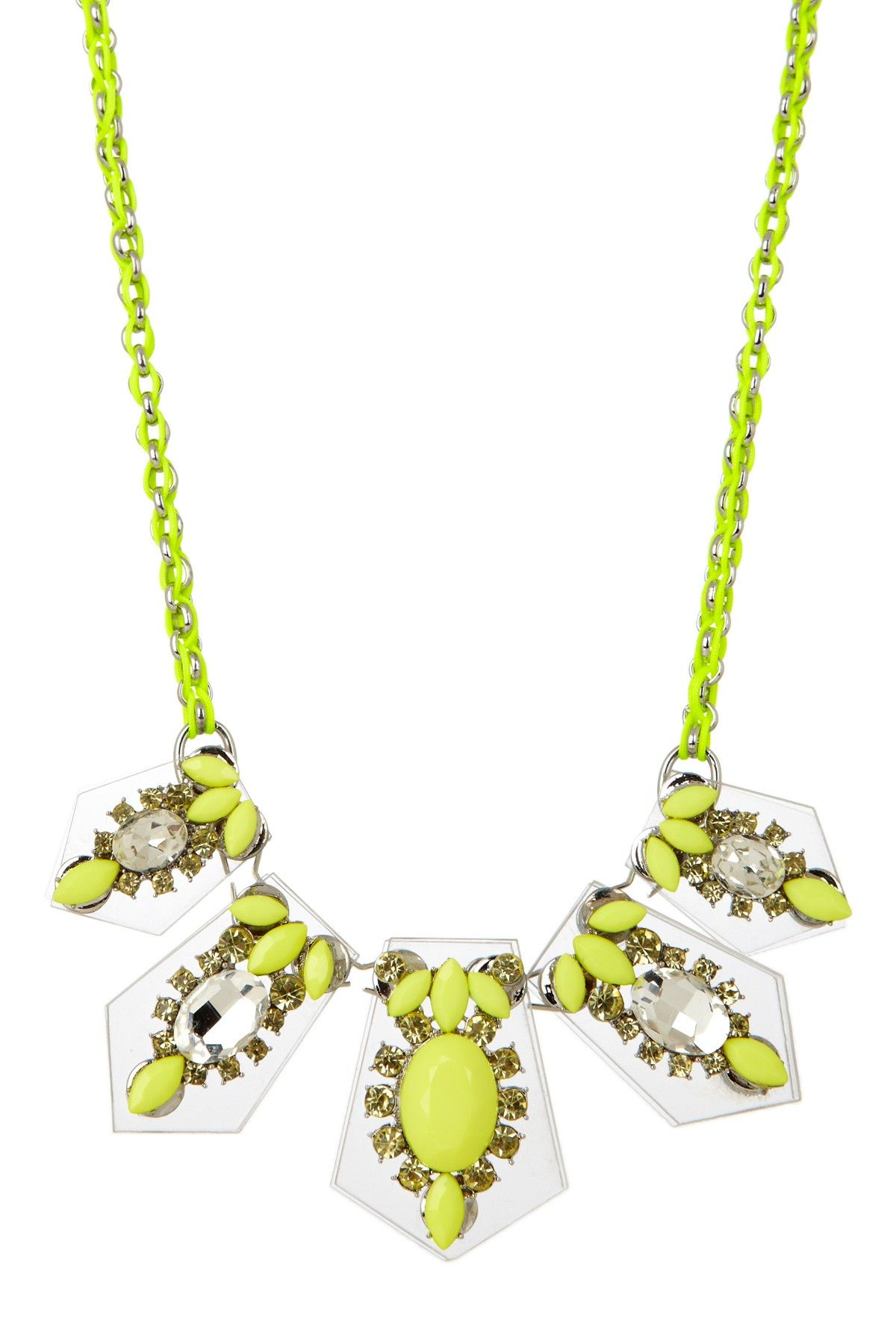 Luxe lucite neon yellow pendant necklace jewelry love pinterest