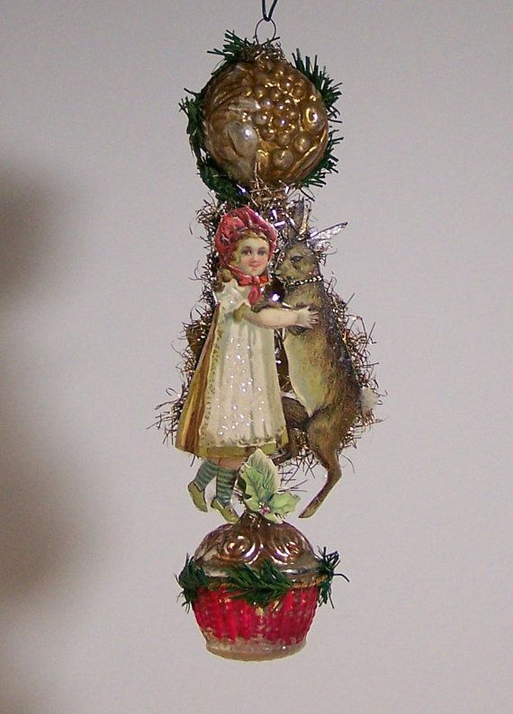 victorian christmas ornament dancing partners made from 107 year old antique scrap and antique ornaments