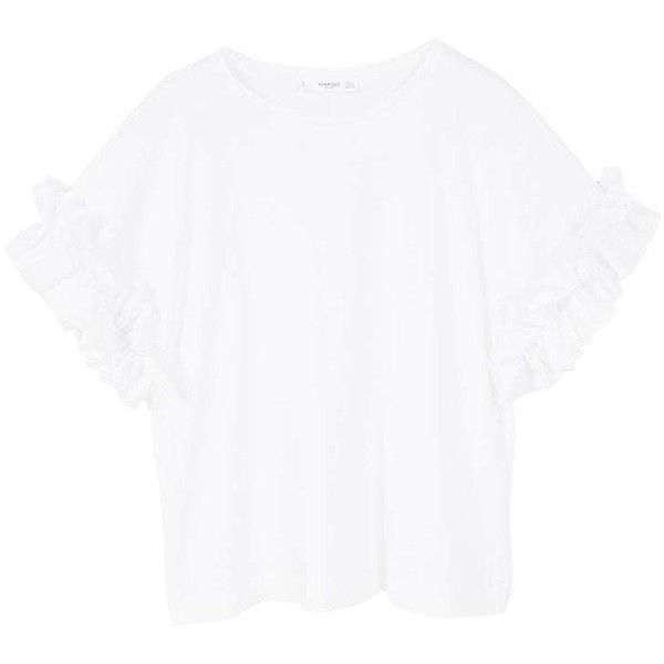 Ruffled Sleeve T-Shirt featuring polyvore women's fashion clothing tops t-shirts mango tee ruffle top white cotton tops frill sleeve top flounce tops