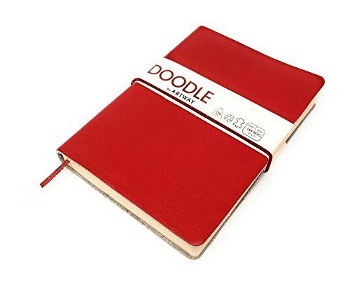 Artway Doodle Red Leather Journal Sketchbook 150 Gsm Cartridge