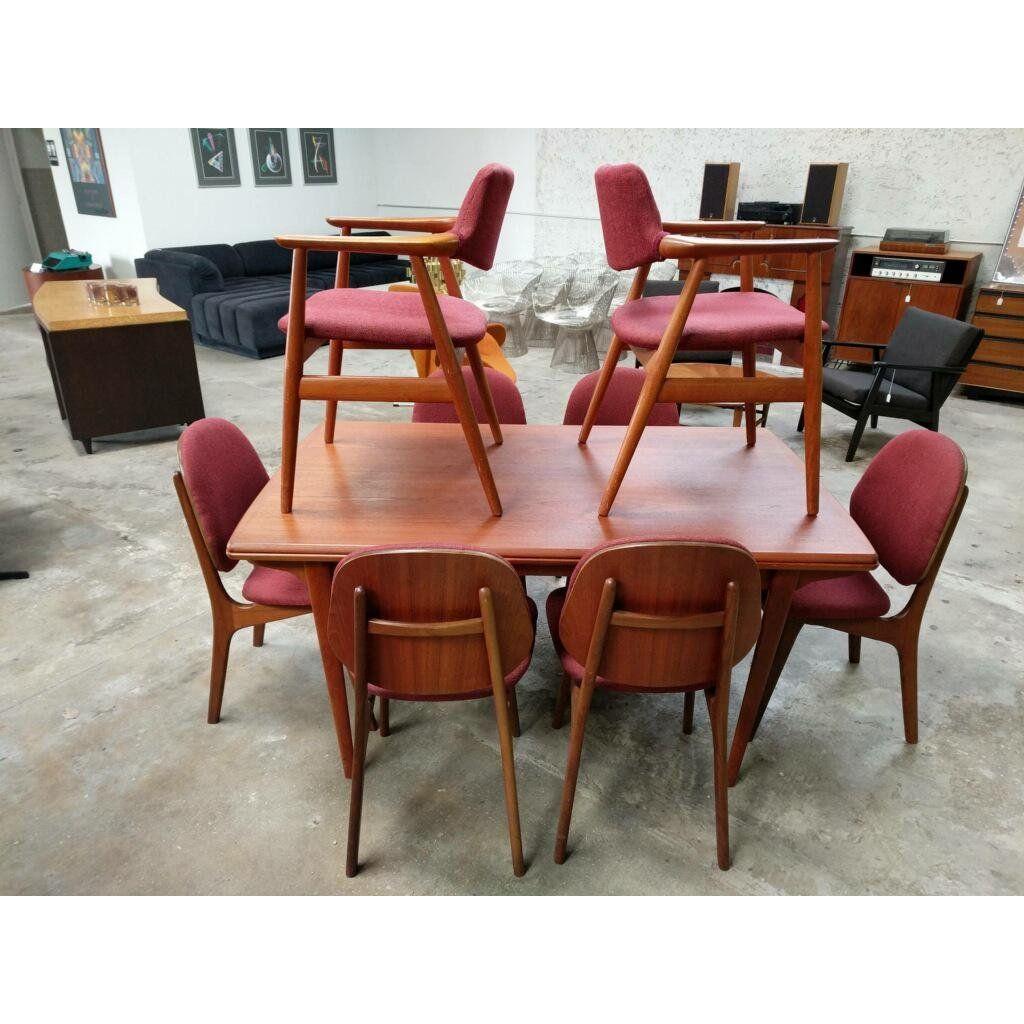 1960s Mid Century Modern Hans Olsen Teak Dining Room Set 9