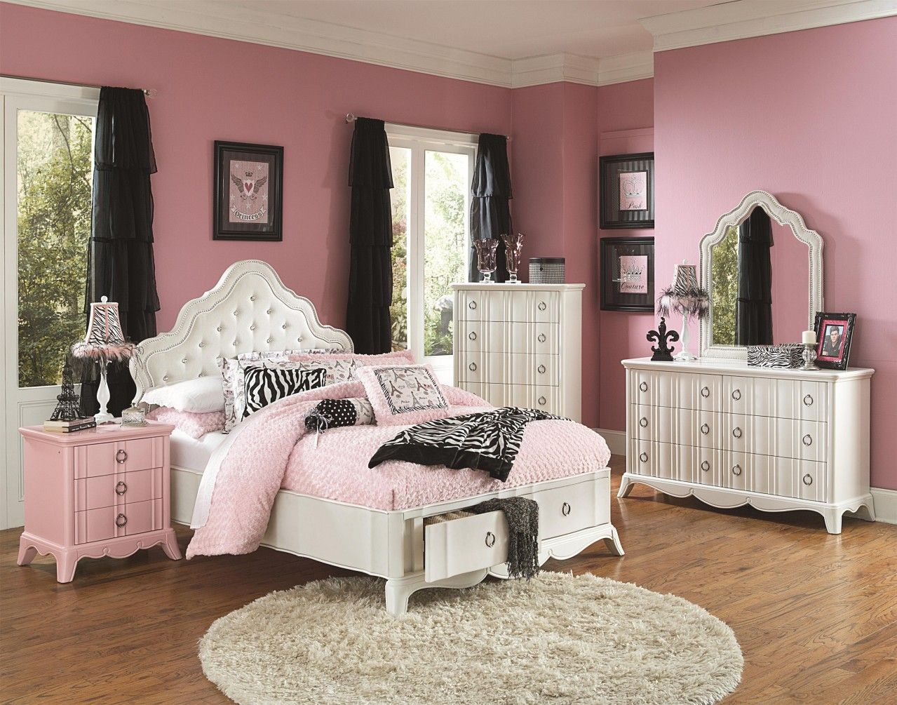 Magnussen Furniture Gabrielle Island Storage Bedroom Set in Snow ...
