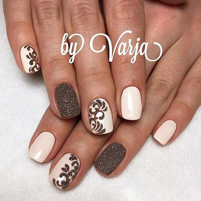 Fingernails fingernails nails nailart nail art pinterest 12 amazing nail designs for short nails pink and brown glitter glam prinsesfo Image collections