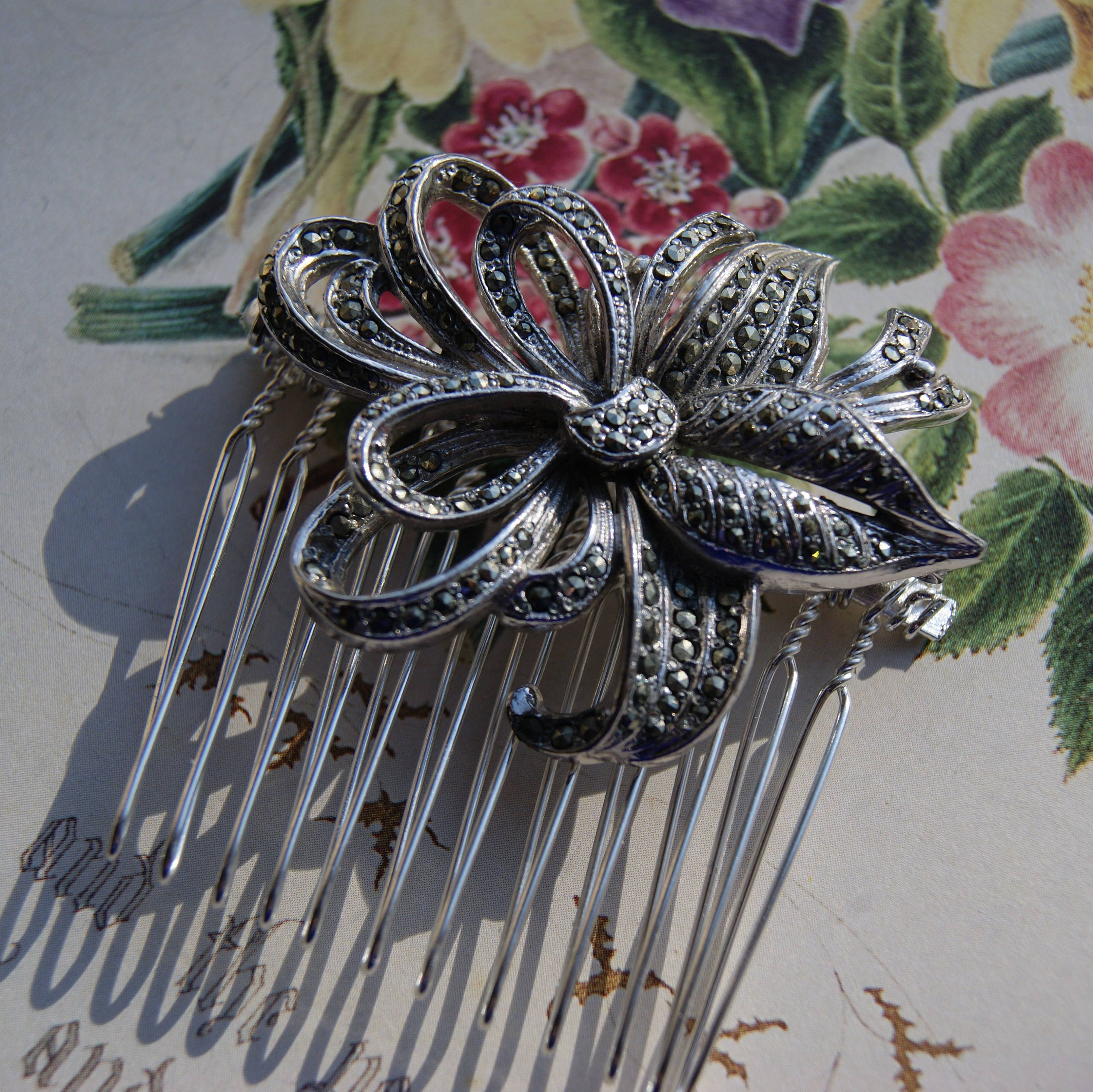 vintage marcasite hair comb, silver tone floral spray- wedding