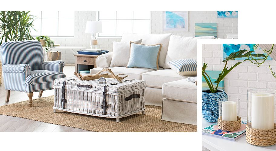 A Modern Coastal Living Room With Natural Materials And Light Blue Color Palette Links To Where Coastal Living Furniture Coastal Furniture Coastal Living Room