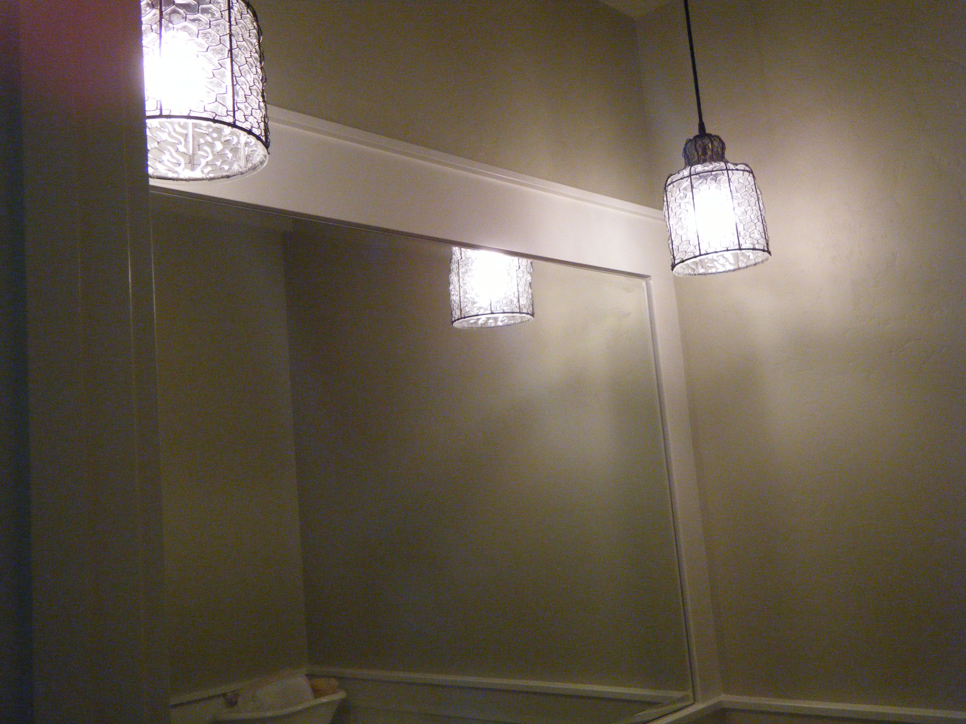 My powder bathroom with the harlow exterior pendants by