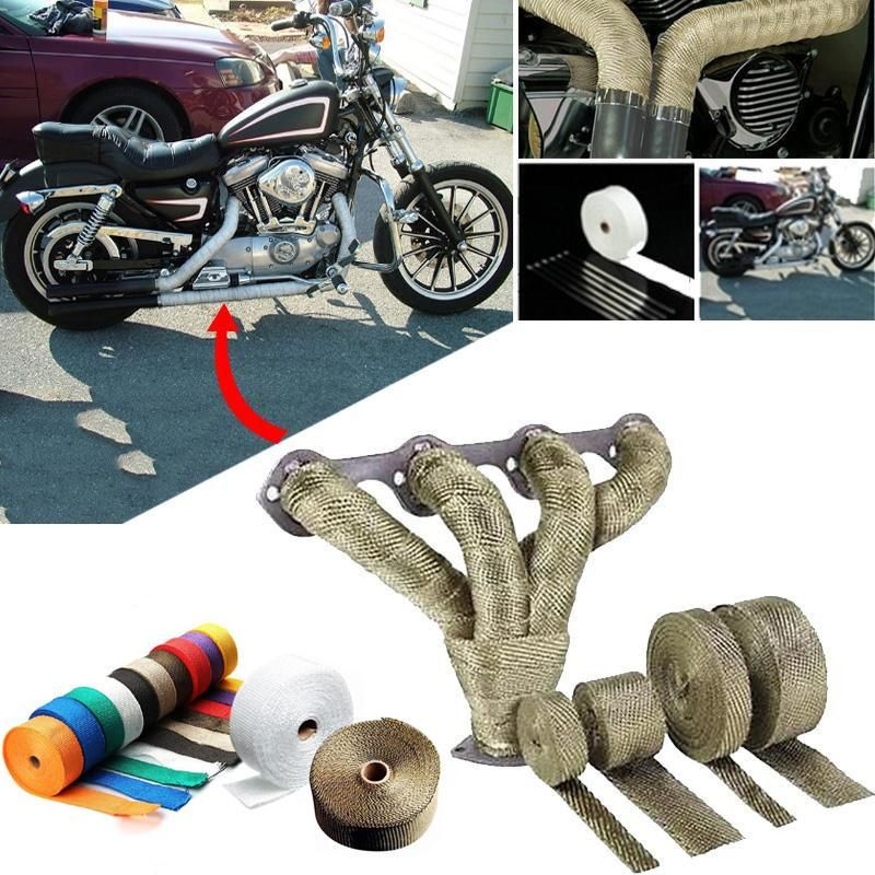 """Titanium Pipe Wrap Exhaust Turbo Heat Manifold Header 1/""""x25/' Roll With Gold tape"""