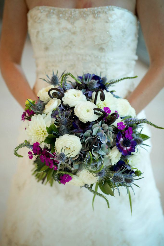 White peonies, small purple flowers with figs and cactus flowers by ...