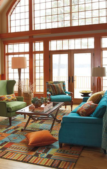 Blue And Orange Living Room Ideas: Pueblo Living Room Green, Blue, Orange