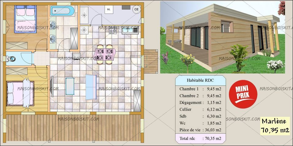plan gratuit maison bois moderne 2 chambres maisons Pinterest - plan petite maison 70 m2