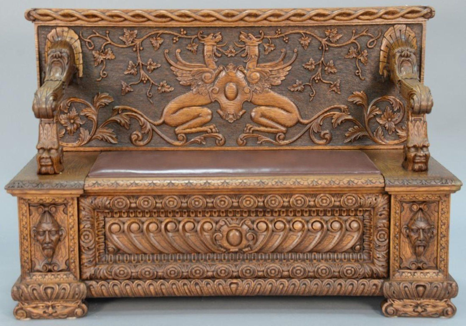 Victorian Carved Oak Bench w Curved Panel