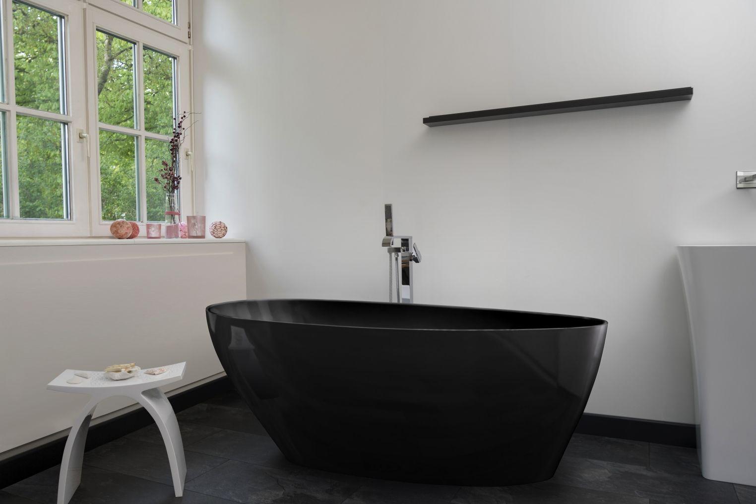 Freistehende Mineralguss Badewanne 160x70 Inkl Ablaufventil Flachsiphon Modena Nero Kaufen Bei Hood De Badewanne Ablaufventil Schwarze Wanne