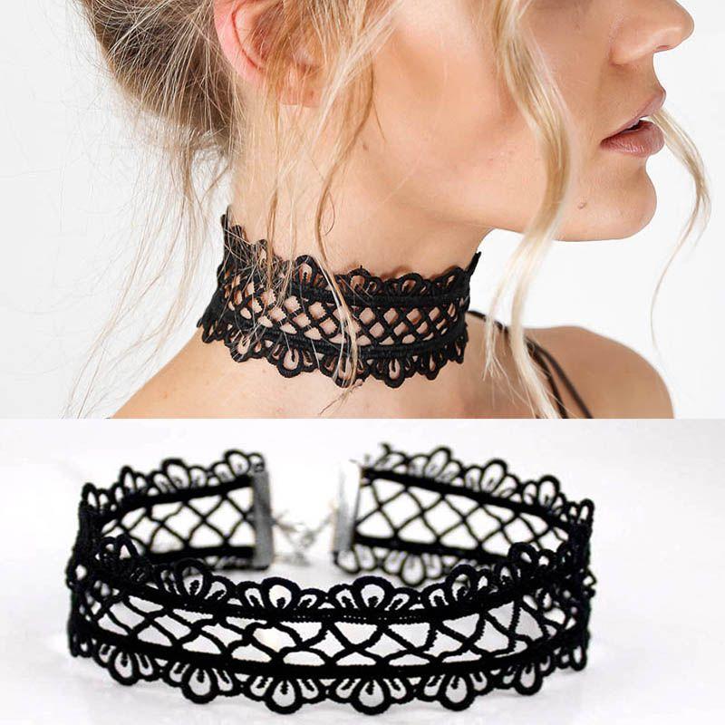Nuevos accesorios de joyería de moda de verano sexy hueco fuera de encaje negro choker collar para los amantes de los pares n174