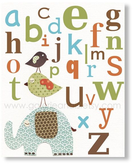 Another Alphabet Poster I Love Kids Art Nursery Decor
