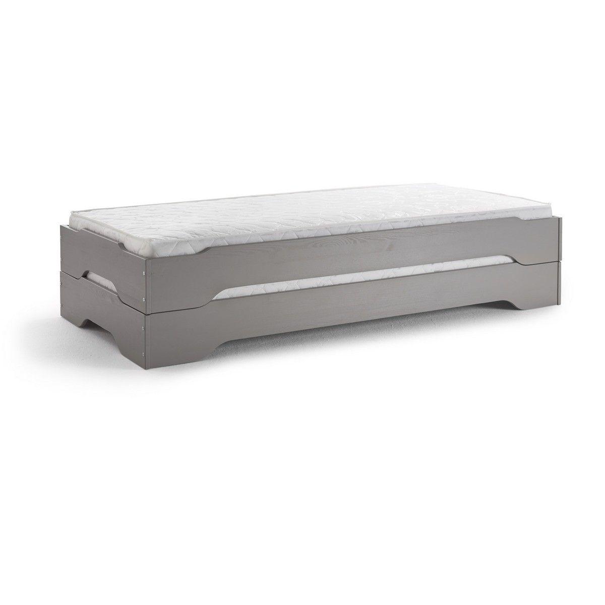 Stapelbett Gastebett 2x Betten 90x200 Kiefer Taupe Grau Lackiert