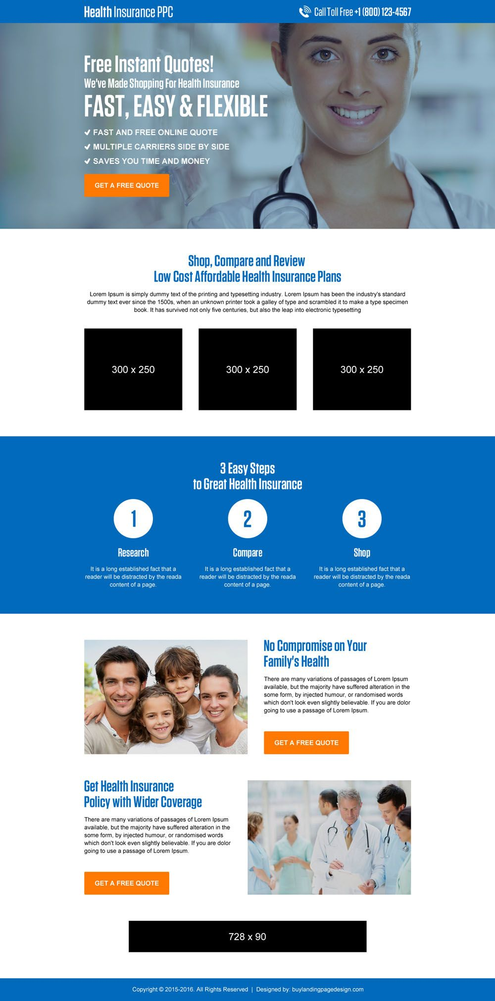 Health Insurance Instant Free Quote Lead Generating Landing Page
