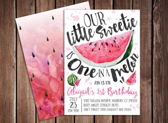 Little Sweetie is one in a Melon Watermelon Birthday Party Printable - fresh birthday invitation of my son