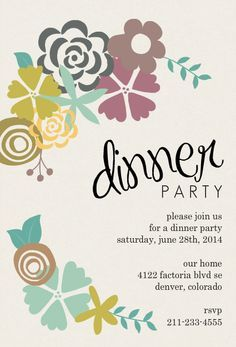 Modern Floral Dinner Party Invitation Dinner Parties Pinterest