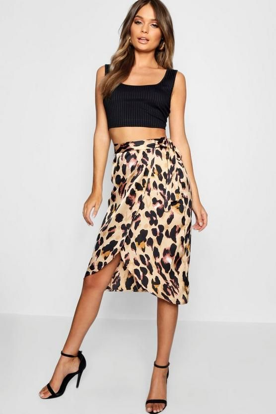 d11bad9673 Leopard Print Satin Wrap Midi Skirt in 2019   Clothes/Shoes ...