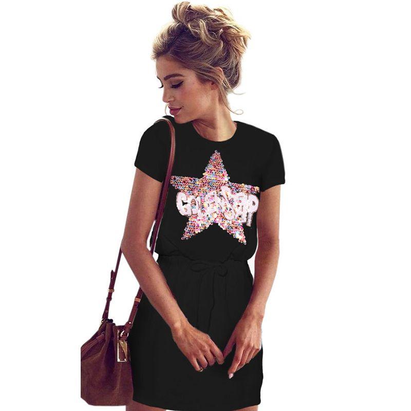 4173f1baa7 Womens Summer Casual Shirt Dress Ladies Sequin Star Loose Party Mini Dress  WS454R