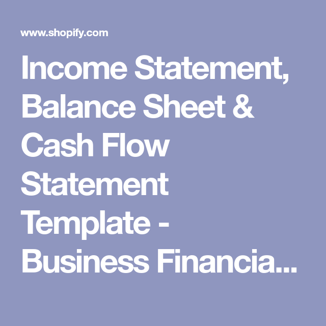 Income Statement Balance Sheet  Cash Flow Statement Template