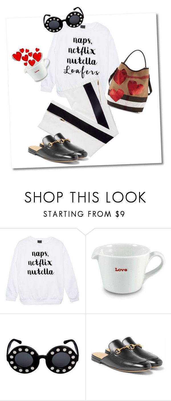 """""""Who ordered some love and loafers?"""" by imaginen ❤ liked on Polyvore featuring Keith Brymer Jones, Linda Farrow, Gucci and Burberry"""