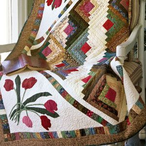 appliqued log cabin block quilts | Dive into your scrap basket for ... : quilting a log cabin quilt - Adamdwight.com