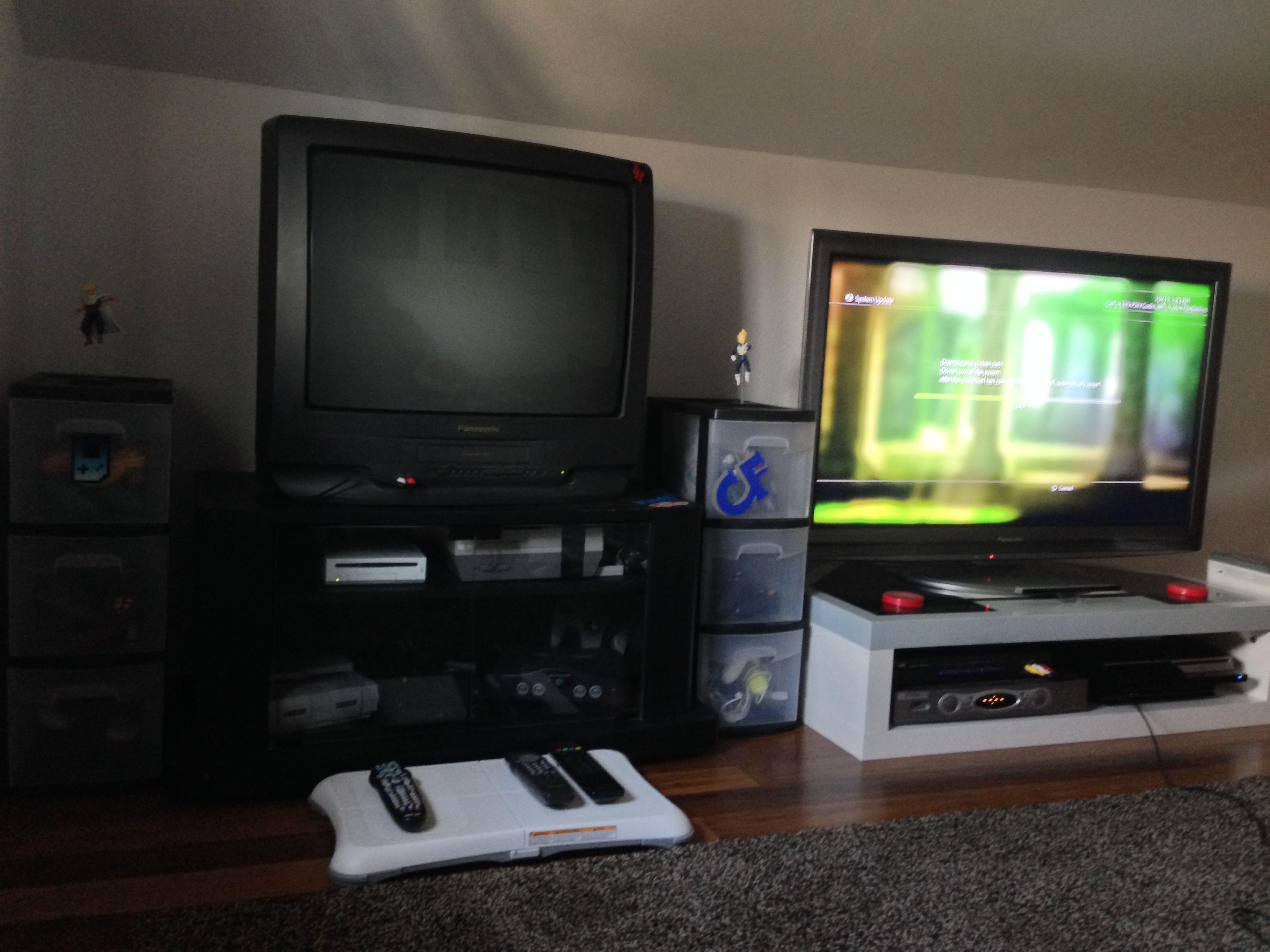 Old & New - TV game system & video gaming setup via Reddit user