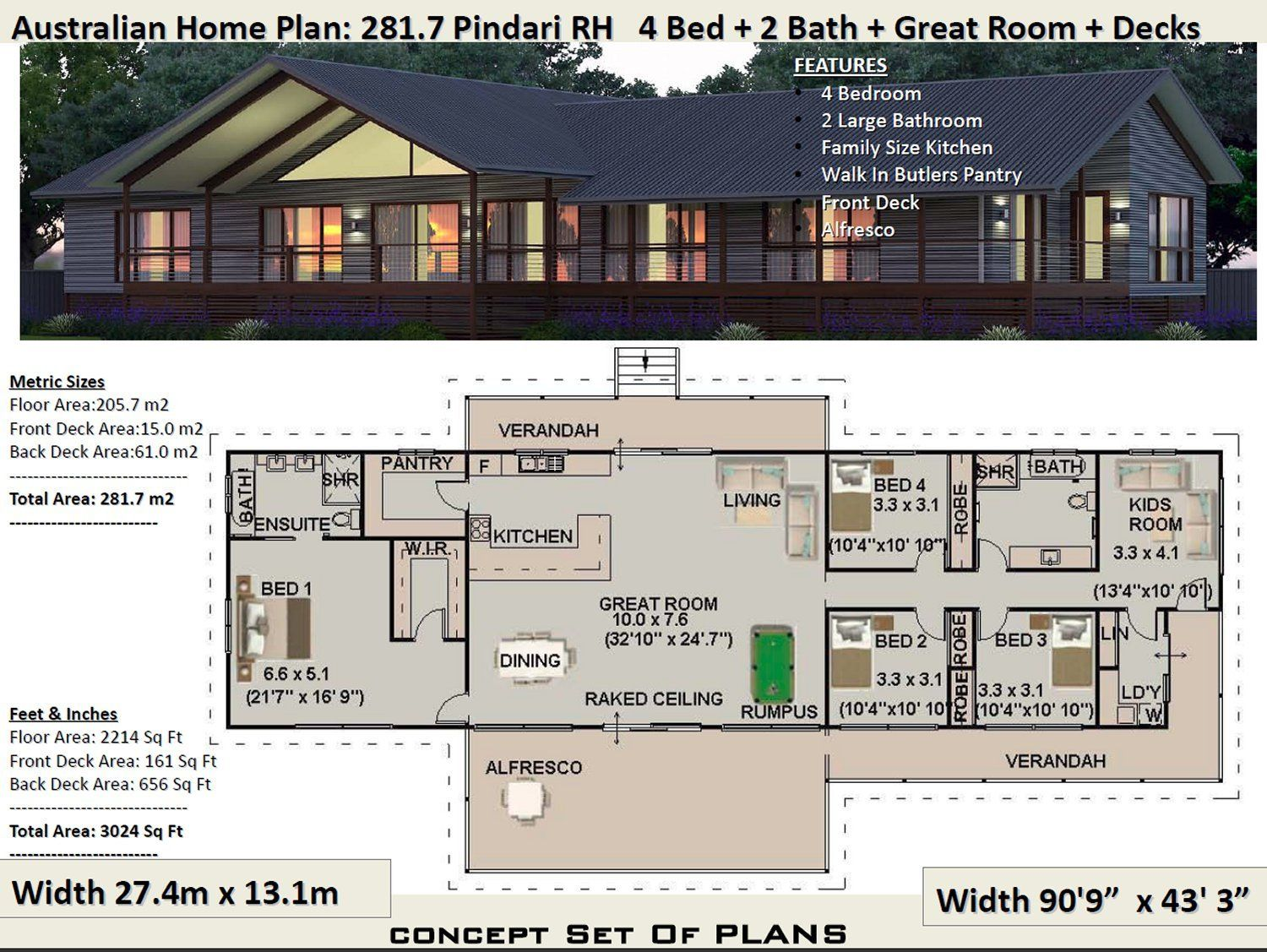 281 M2 3024 Sq Foot 4 Bedroom House Plan 281 7 Pindari Etsy House Plans Australia House Plans For Sale Country Style House Plans