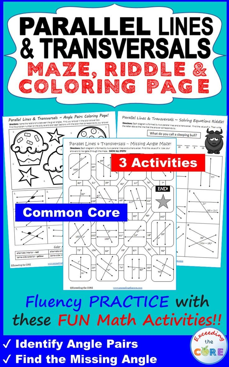 Parallel lines and transversal maze riddle coloring page fun have your students apply their understanding of parallel lines cut by a transversal with these fun robcynllc Choice Image