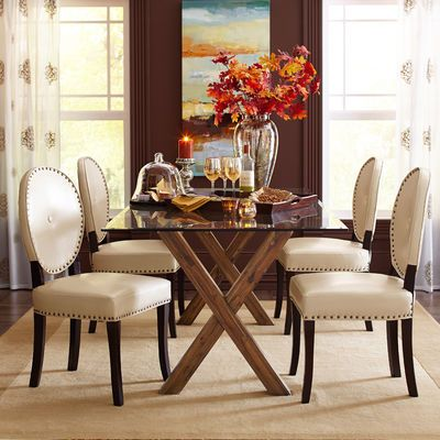 Astonishing Cadence Ivory Dining Chair With Espresso Wood Furniture Caraccident5 Cool Chair Designs And Ideas Caraccident5Info