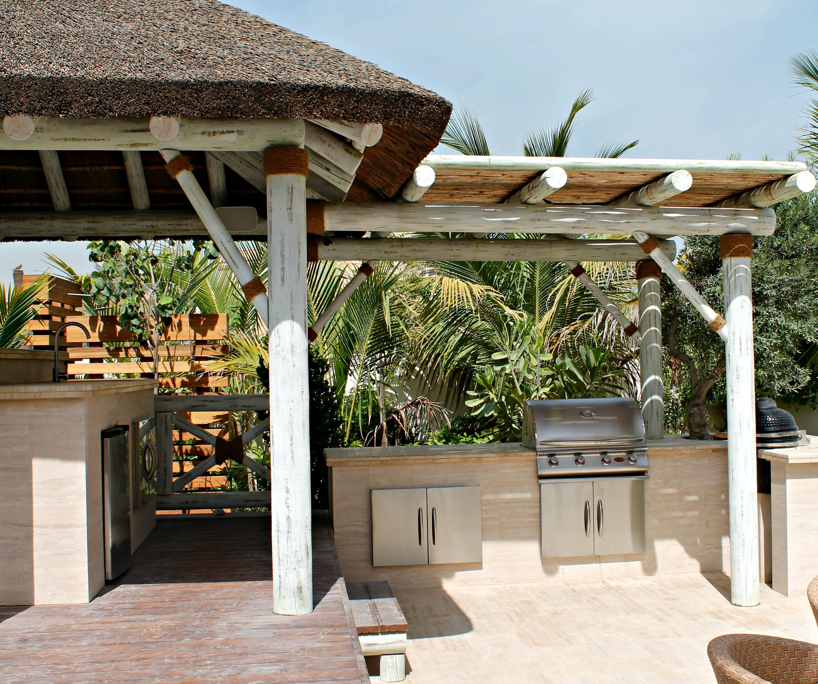 Modern Whitewash Thatched Gazebo With Pergola Extension For Bbq
