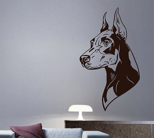 Kik2858 wall decal sticker doberman dog head living room bedroom
