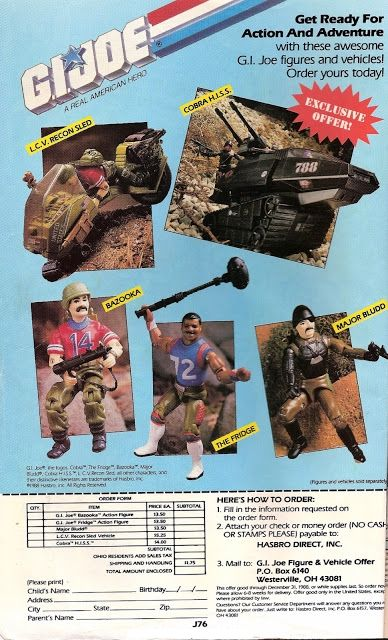 A GIJoe mail-away order form featuring the promo  - money order form