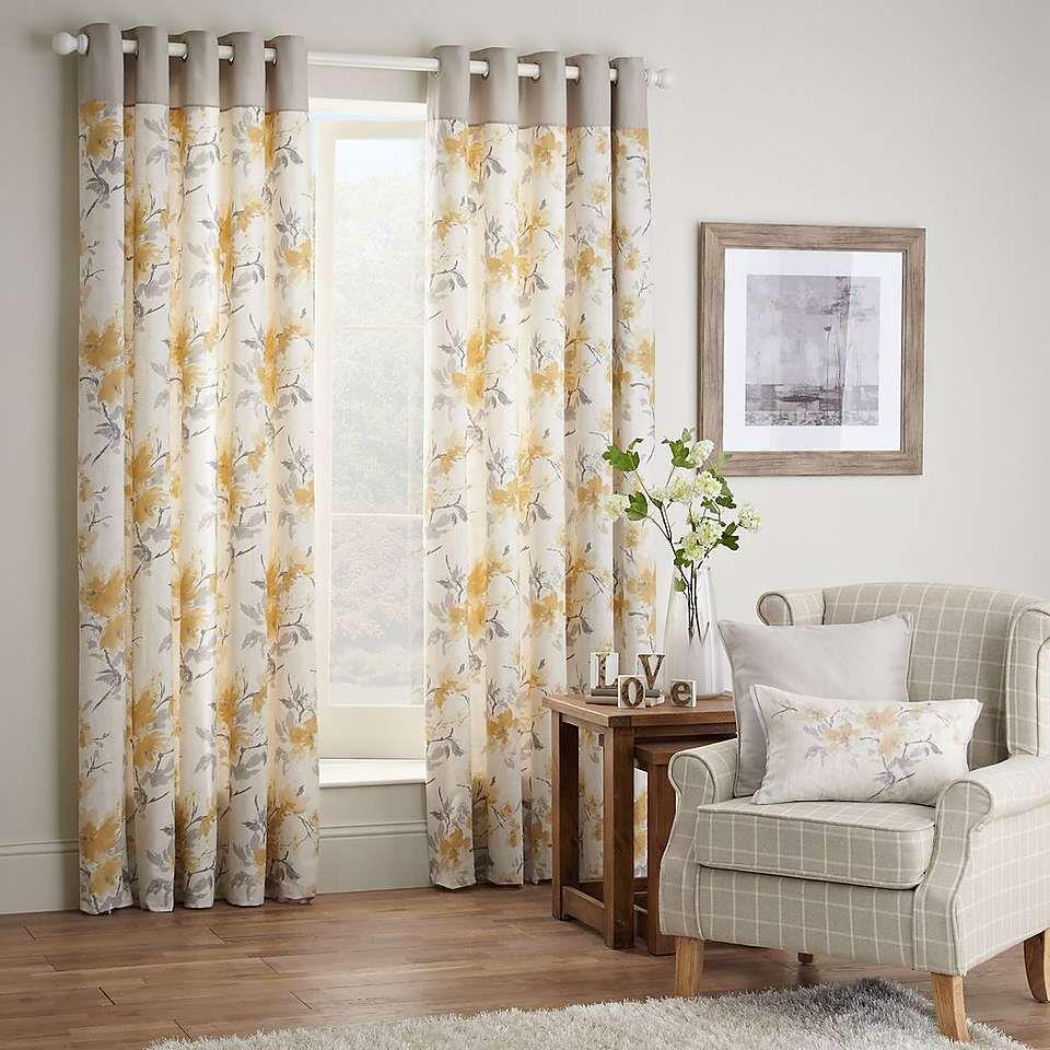 Ochre Pandora Lined Eyelet Curtains | Dunelm | Bedroom ideas ...