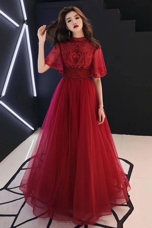 Burgundy Tulle Lace Mid Sleeve Long Prom Dress, Beaded Formal Dress
