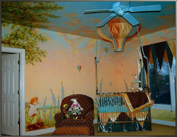 Acrylic on sheetrock, all walls and ceiling of bedroom and 1 wall of bathInspired by the client's favorite stories, this mural features a sunrise sky spreading across the walls and ceiling, with a landscape background around all of the walls. The four ...