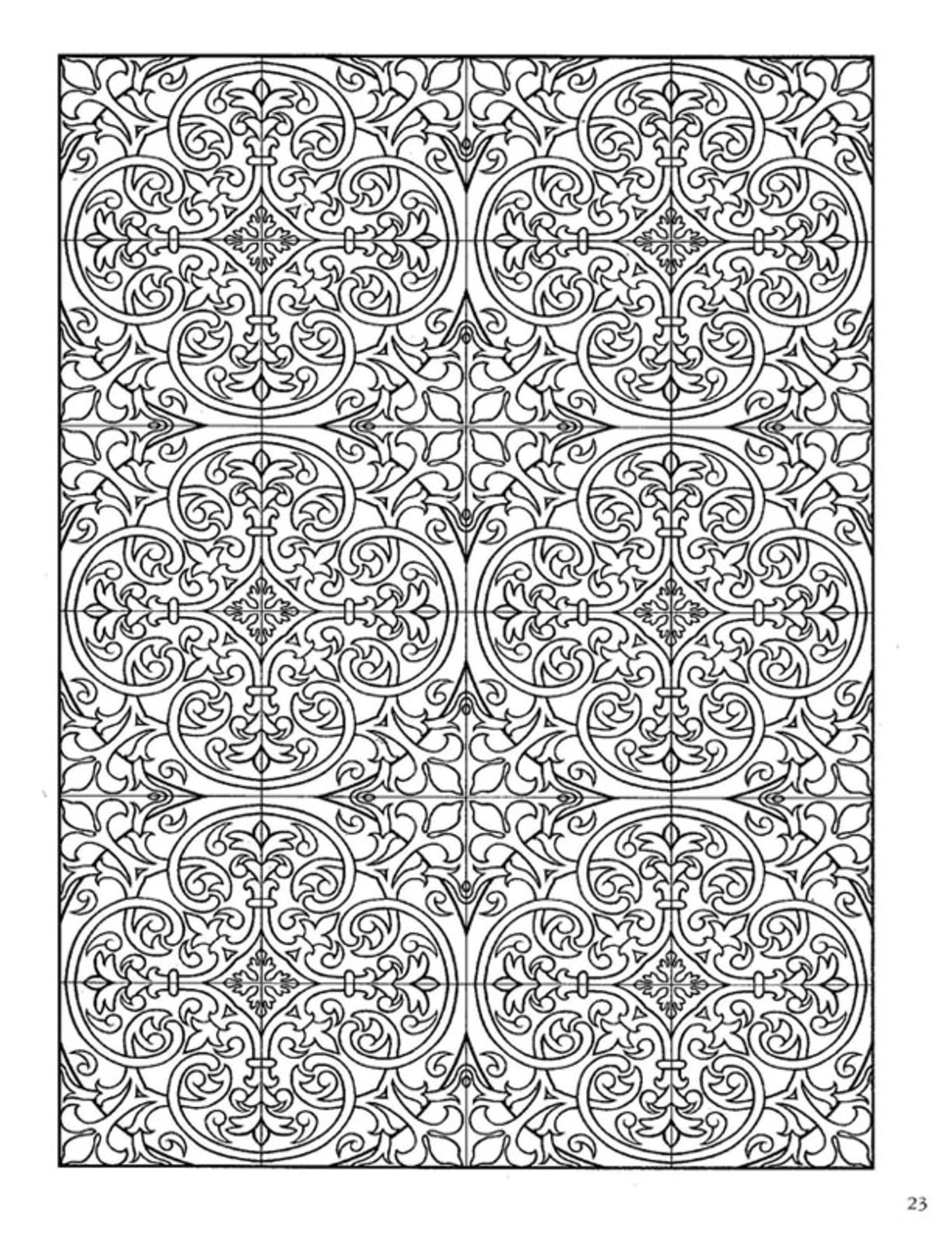 Flower drawings on pinterest dover publications coloring pages and - Dover Decorative Tile Coloring Book