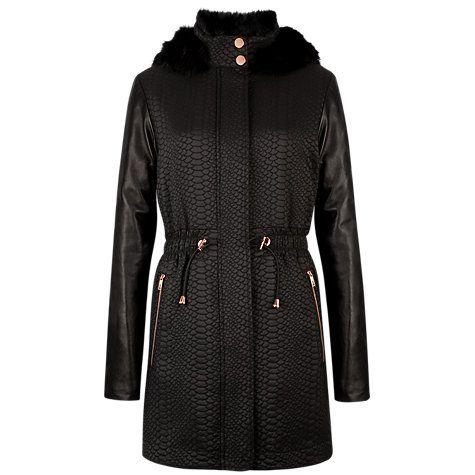 781d69332ba Ted Baker Leather Sleeve Parka Coat, Black   winter coats   Parka ...