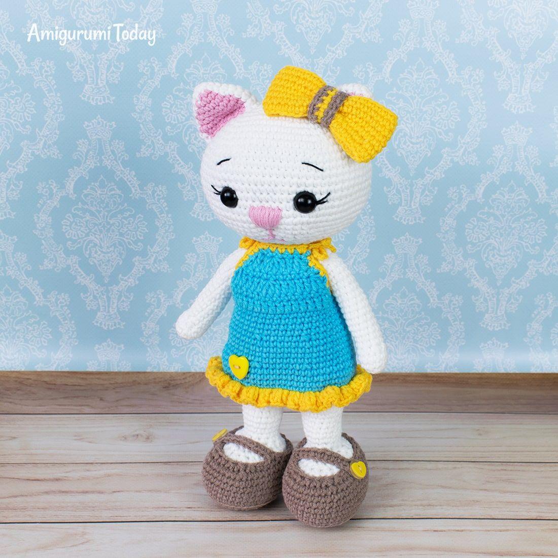 Cat Doll In Sundress Crochet Pattern Cat Doll Stuffed Animal