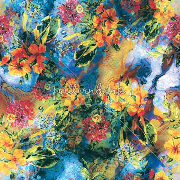 Fire Storm Seamless #tropical #flowers #pattern.48x48 cm.254 Dpi.