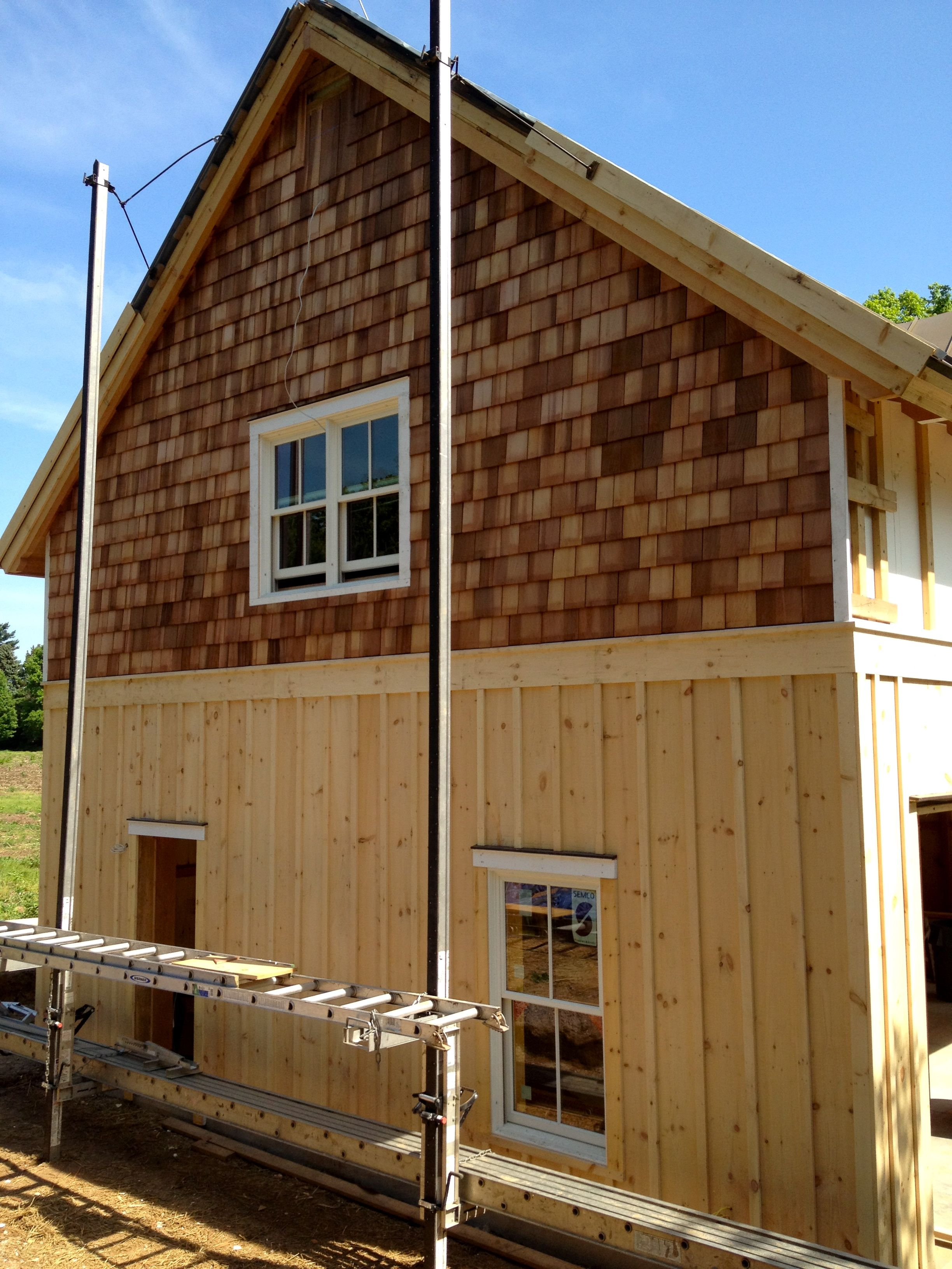 Board And Batten Siding With Cedar Shakes Google Search House Siding Shingle Siding Exterior House Siding