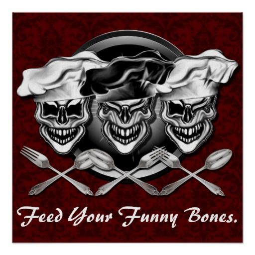 Feed Your Funny Bones Poster: This cool and comical vintage styled laughing chef skulls poster features three charismatic skull chefs with crossed silverware, laughing in front of a dark blue damask design. Customization feature allows you to add text for a personalized touch. Makes a great gift for the executive chef, sous chef, home cook, line cook, or anyone with a fierce passion for cooking...and a sense of humor.