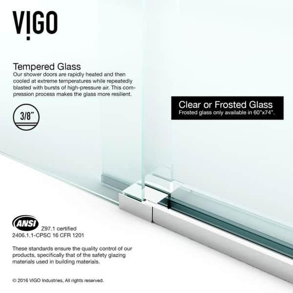 VIGO Elan Clear Adjustable Frameless Sliding Shower Door (Stainless Steel Finish) #framelessslidingshowerdoors