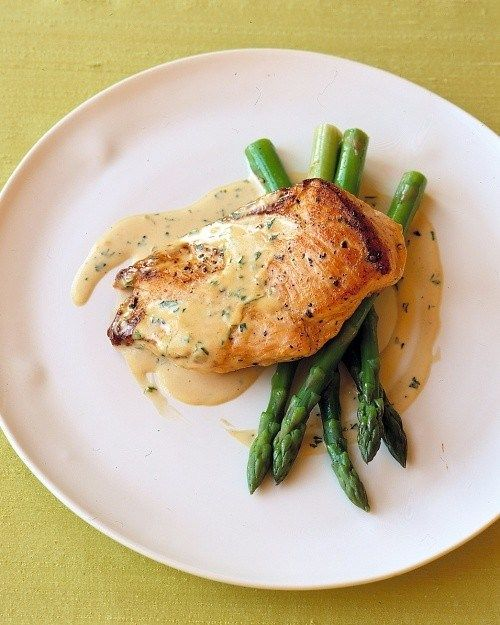 Sauteed chicken with cream mustard sauce. would also be good with salmon.
